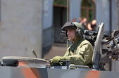 Officer in a tank on military parade. Tbilisi, Georgia. — Stock Photo