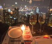 View from restaurant on The Peak at night. Hong Kong. — Stock Photo