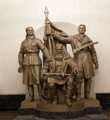 Sculptural group Moscow underground (metro). Russia — Stock Photo