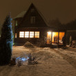 Russian county house (dacha) and decorated Christmas tree. Moscow region. Russia. — Stock Photo