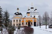 Orthodox monastery Davidova Pustin and Assumption church of the Blessed Virgin Mary in winter. Chekhov. Moscow region. Russia. — Stock Photo