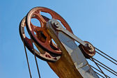 Pulley of old excavator — Stock Photo