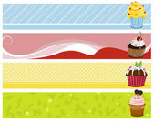 4 sweet headers with cupcakes — Stock Vector