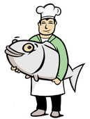 Chef with big fish — Stock Vector