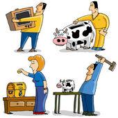 Funny Characters Saving money — Stock Vector