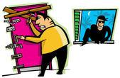 Thief breaks into house — Stock Vector