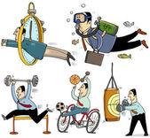 Businessmen making sport — Stock Vector