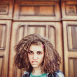A girl with an unusual hairstyle — Stock Photo