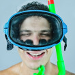 Portrait of beach skin-diver. studio - Stock Photo