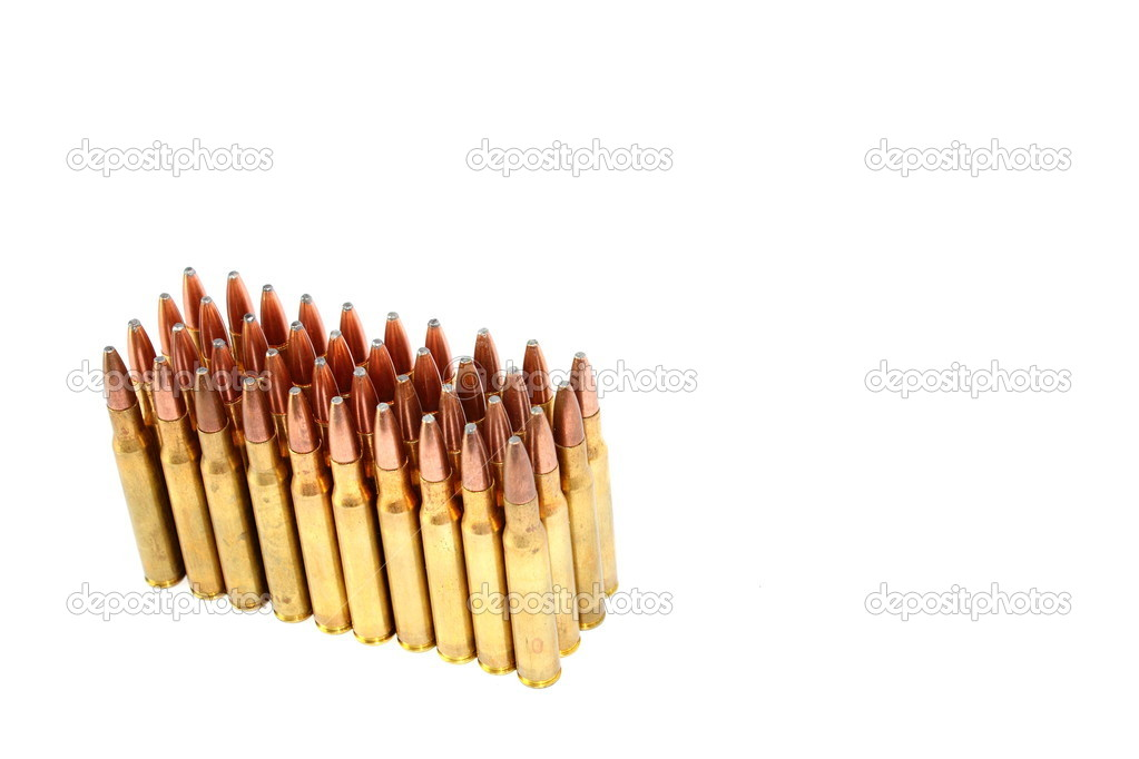 Isolated .306 caliber rifle ammo — Stock Photo #11501678
