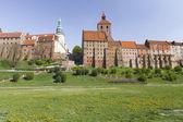 Grudziądz in Poland, the old town, St.Nicolaus church and town hall,old granaries — Stock Photo