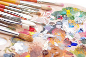 Artist's palette with multiple colors — Stock Photo