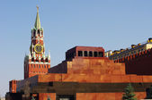 Lenin Mausoleum and Kremlin`s tower at Red Square in Moscow — Stock Photo