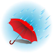 Red umbrella in rain — Stock Vector