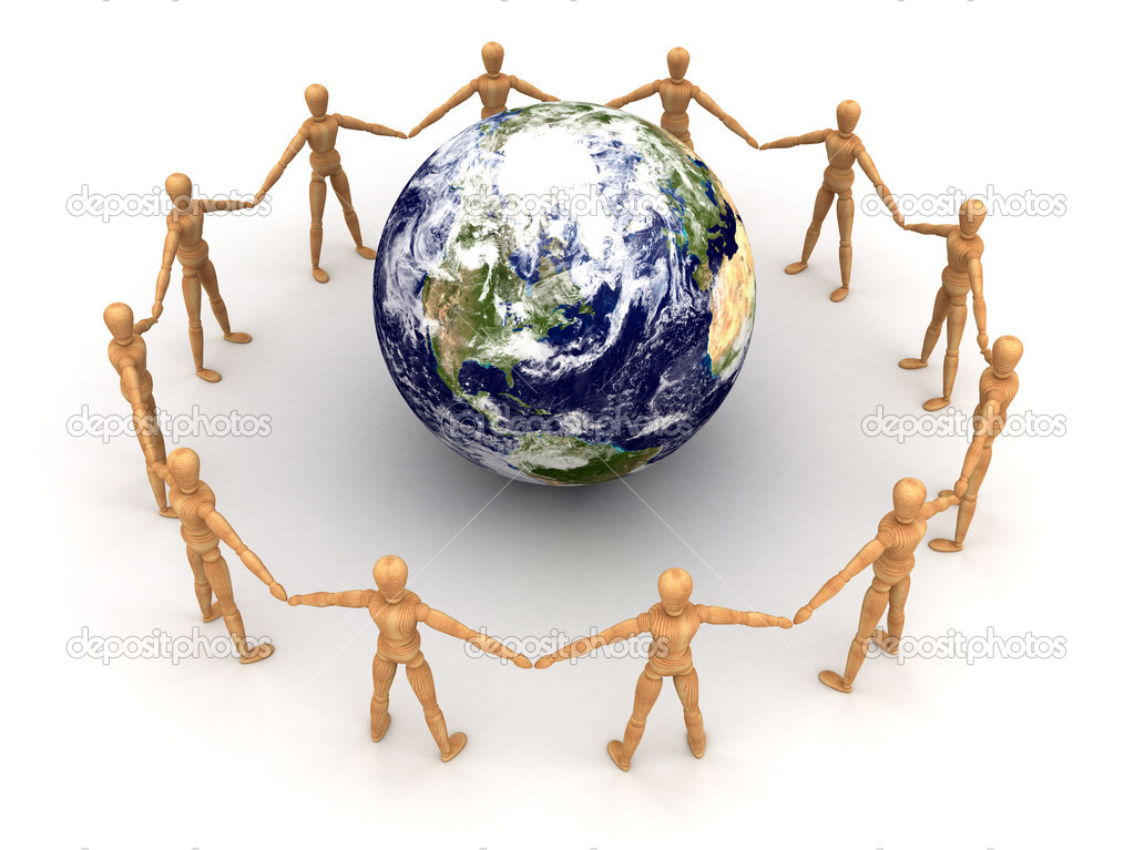 Togetherness (With clipping path) Maps used from NASA.  Stock Photo #11798267