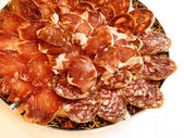 Ham, salami and sausage — Stock Photo