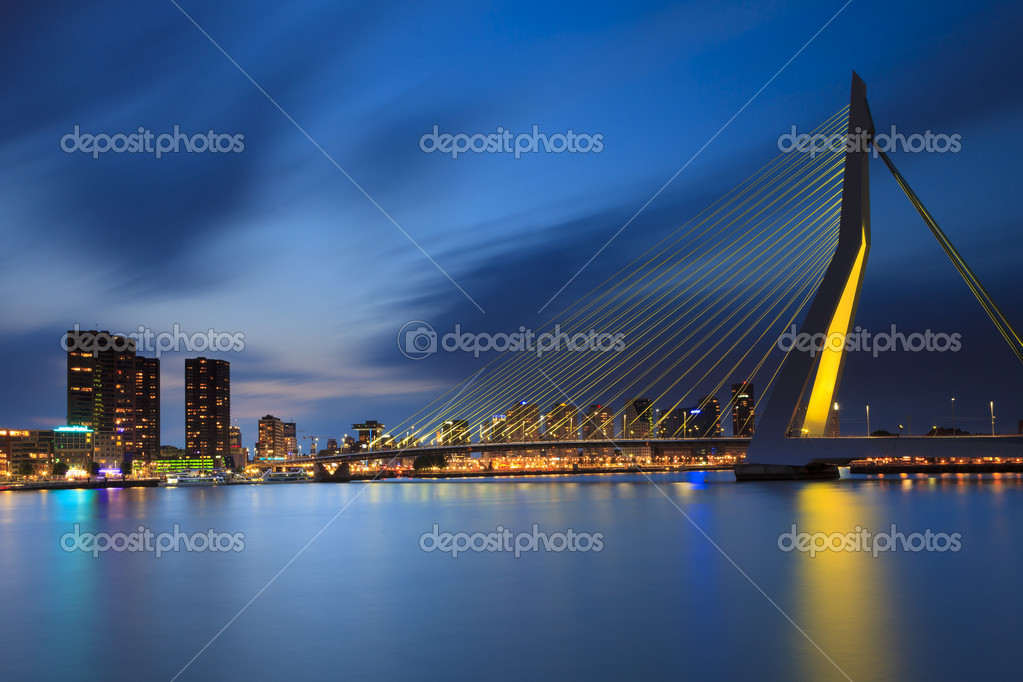 Skyline Rotterdam by night with the Erasmusbrug  Stock Photo #10797296