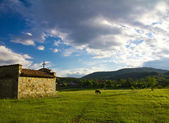 Balkan chapel on sunset — Stock Photo