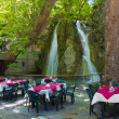 Stock Photo: Summer restaurant with waterfall