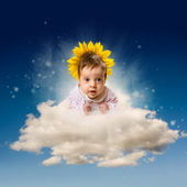 Beauty baby angel in the cloud — Stock Photo