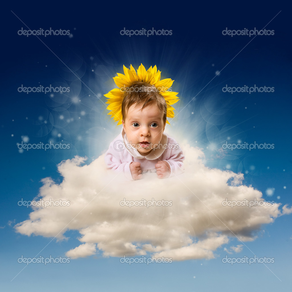 Beauty baby angel in the cloud — Stock Photo #10781994