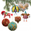 Vintage Christmas toys on  fir tree branch — Stok fotoğraf