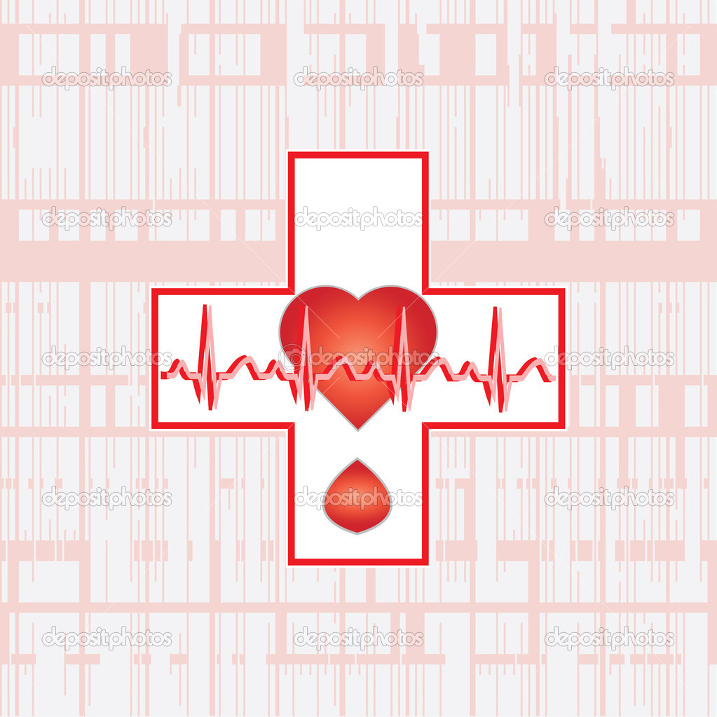 Ekg cross .vector — Stock Vector #10942152