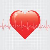 Heart with ekg on texture — Stock Vector