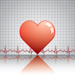 Heart with ekg on texture — Stock Vector