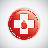 Blood donation button — Stock Vector