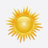 Brillante sol aislado en blanco — Vector de stock