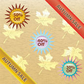 Brown and gold autumn sale over white background. — Stock Vector
