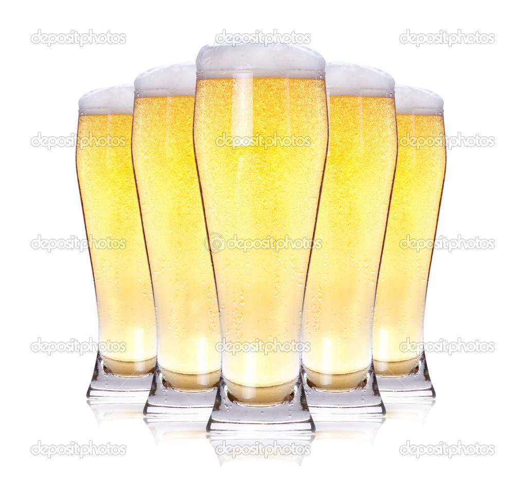 Frosty glass of light beer isolated on a white background. — Stock Photo #10964019