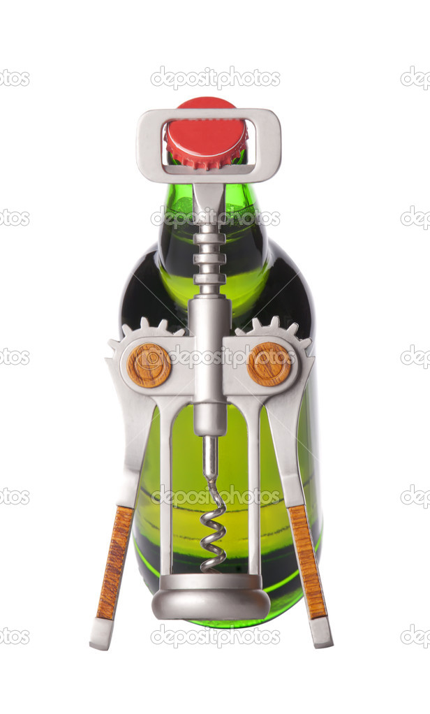 Opening beer bottle with metal opener — Stock Photo #10983001