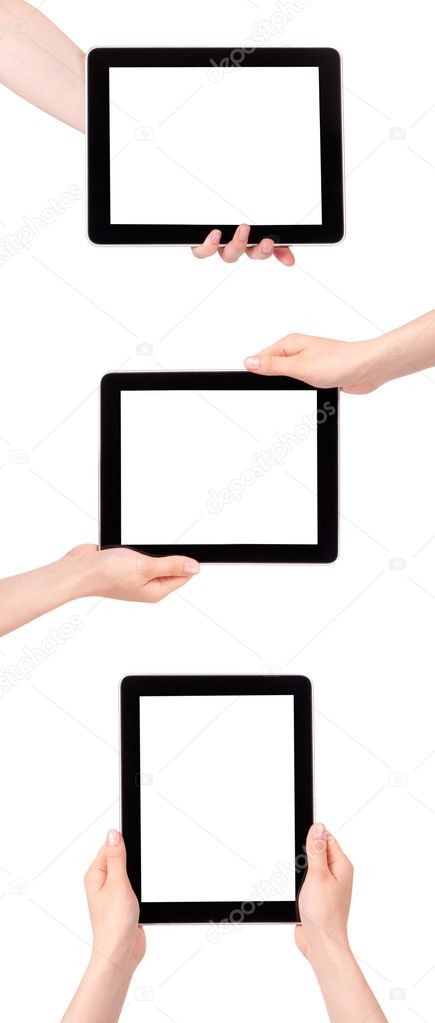 Collection of Hands Holding Digital Tablets on a white background — Stock Photo #11141208