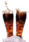 Fresh Cola with ice cubes — Stock Photo