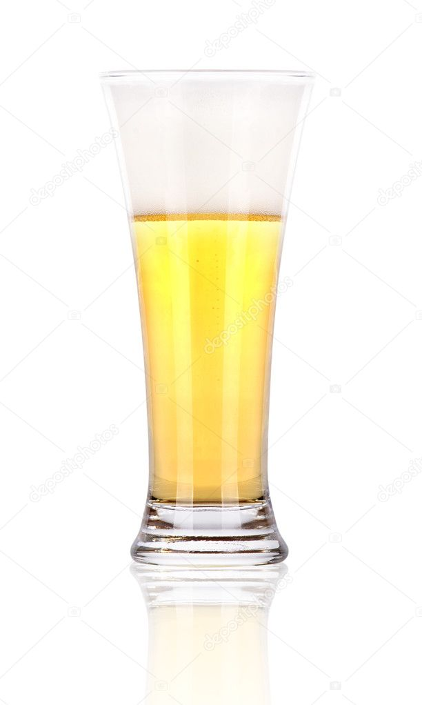 Frosty glass of light beer with foam isolated on a white background — Stock Photo #11434253