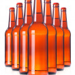Row of beer Bottles isolated. — Stock Photo