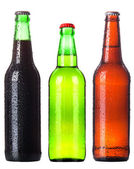Beer collection - Three beer bottles. Isolated on white background — Stock Photo