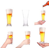 Glass of beer isolated. Full,empty,with hand,in ice, with bottle — Stock Photo