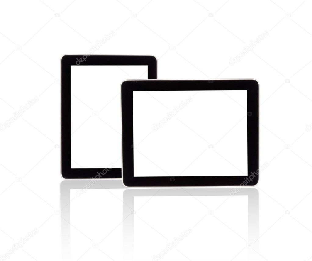 Touch screen tablet computer with blank screen Isolated on white — Stock Photo #12180686