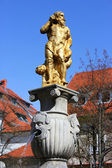 Golden neptune fountain — Stock Photo