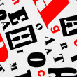 Red black white - letters mixture — Stock Photo