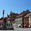 Maribor main square - plague monument — Stock Photo