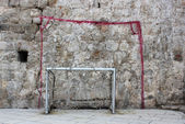 Wall-painted and real goalposts — Stock Photo