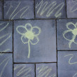 Flowers - pavement chalk drawing - regular — Stock Photo