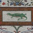 Lizard and fishes  mosaics - Vatican gardens - Stock Photo
