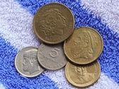 Ex greek coins - drachmas — Stock Photo