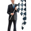 Smiling with a checkered flag — Stock Photo