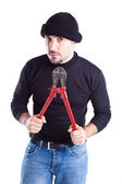 Burglar with wire cutters 6 — Stock Photo